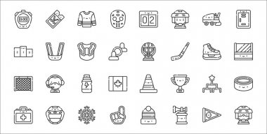 Set of 32 hockey thin outline icons such as hockey player, air horn, hand, first aid kit, tournament, energy drink, bench, goalkeeper, mouth guard icon