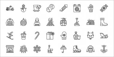 Set of 32 winter thin outline icons such as candle, ice skating, wine, fireplace, wolf, candy cane, snow boot, cable car cabin, christmas ball icon