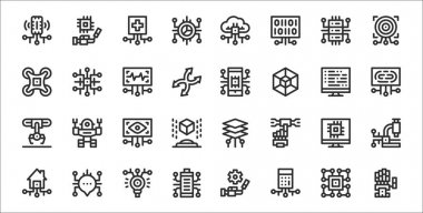 Set of 32 artificial intelligence thin outline icons such as robot arm, calculator, battery status, smart house, computer, eye scan, fingerprint, smartphone, network icon