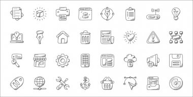 Set of 32 web design and development thin outline icons such as eye, bezier tool, ship anchor, sale tag, volume mute, gearwheel, sitemap, newspaper, pen tool icon