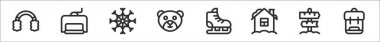 Set of 8 winter travelling thin outline icons such as earmuffs, ski lift, snowflake, bear, ice skate, house, , backpack icon