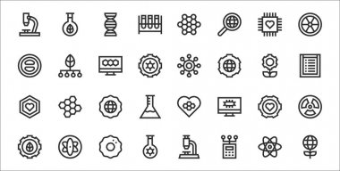 Set of 32 bioengineering thin outline icons such as global, engineering, chemistry, biotechnology, biotechnology, global, research, structure, biotechnology icon