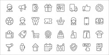 Set of 32 bufilot ecommerce thin outline icons such as bill, shield, calendar, cocktails, pants, trolley cart, cash, shopping basket, costumer icon