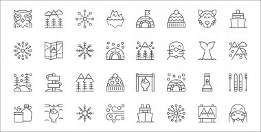 Set of 32 arctic thin outline icons such as walrus, snowflake, chill, canteen, torch, alpine, himalaya, winter, map icon