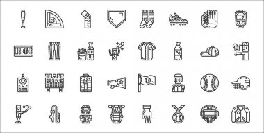 Set of 32 baseball thin outline icons such as jacket, medal, chest guard, baseball, baseball, first aid kit, pitcher, jersey, pants icon