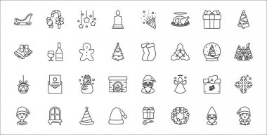 Set of 32 christmas thin outline icons such as girl, christmas wreath, santa hat, boy, christmas day, snowman, cabin, socks, wine icon