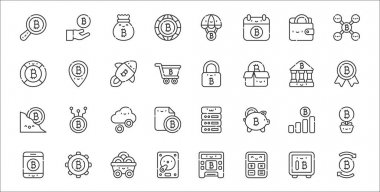 Set of 32 bitcoin thin outline icons such as bitcoin, calculator, hard disk, app, bitcoin, cloud, medal, padlock, pin icon