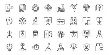 Set of 32 startups thin outline icons such as wallet, idea, goal, medal, data analysis, coffee, growth, briefcase, time icon
