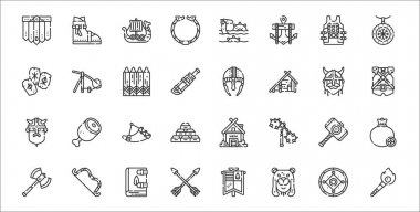 Set of 32 viking thin outline icons such as torch, viking, arrow, axe, hammer, horn, armor, helmet, catapult icon