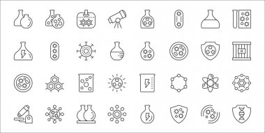 Set of 32 scientific thin outline icons such as dna, immune system, germs, microscope, atom, ferment, cage, chemistry, disease icon