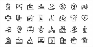 Set of 32 charity thin outline icons such as telephone, school, cheque, cage, tree, first aid kit, charity, wheelchair, blood donation icon