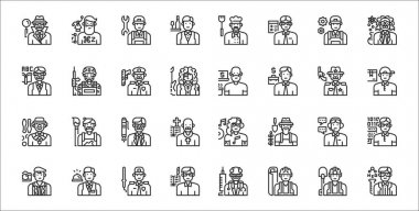 Set of 32 professions and occupation thin outline icons such as chemist, engineer, writer, photographer, customer service, ceo, delivery man, freelancer, soldier icon