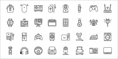 Set of 32 electronic devices thin outline icons such as mac, toaster, printer, camera, iron, game controller, plug, ipod, gps icon