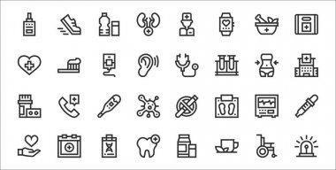 Set of 32 health thin outline icons such as siren, herbal tea, dental care, heart, electrocardiogram, thermometer, hospital, stethoscope, toothbrush icon