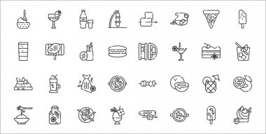 Set of 32 summer food and drink thin outline icons such as frozen yogurt, cold soup, cocktail, pasta, pineapple juice, fish, spritz, tacos, steak icon