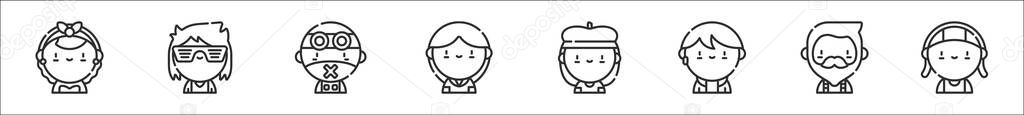 Set of 8 urban tribes thin outline icons such as rockabilly  flogger  cybergoth  preppy  beatnik  kpop  hipster  rastafari icon