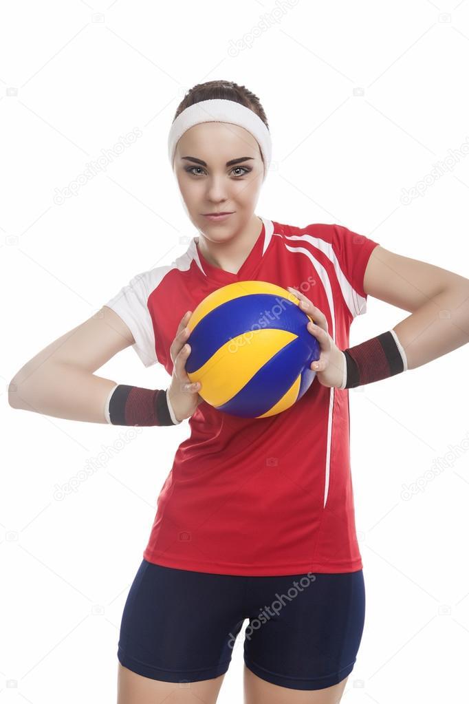 c7024b59c5003 Jugador de voleibol femenino en traje de deporte profesional — Foto de Stock
