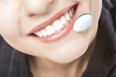 Caucasian Woman White Teeth with Dentist Mouth Mirror.