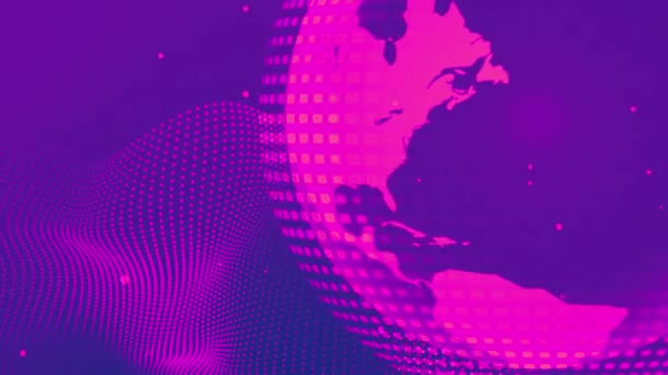 Globe világtérkép forgás és digitális hullám high technology animált háttér