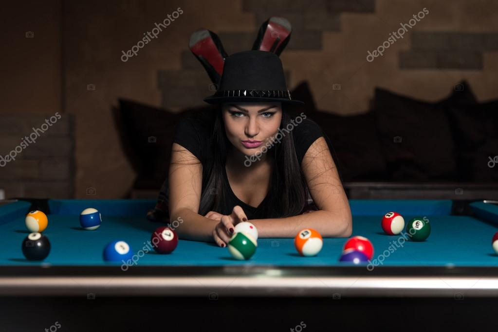 nude women on the pool table