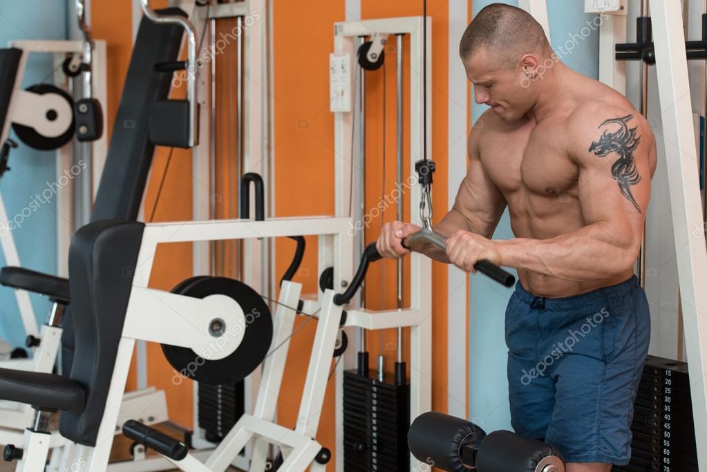 Bodybuilder exercice triceps– images de stock libres de droits 47ab4e52745