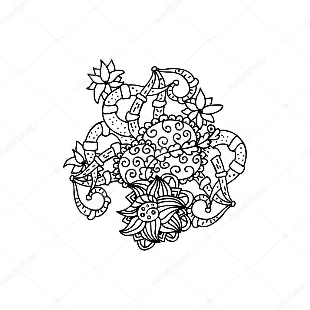 Dessin Au Trait Noir dessin au trait noir mono couleur — image vectorielle ilonitta