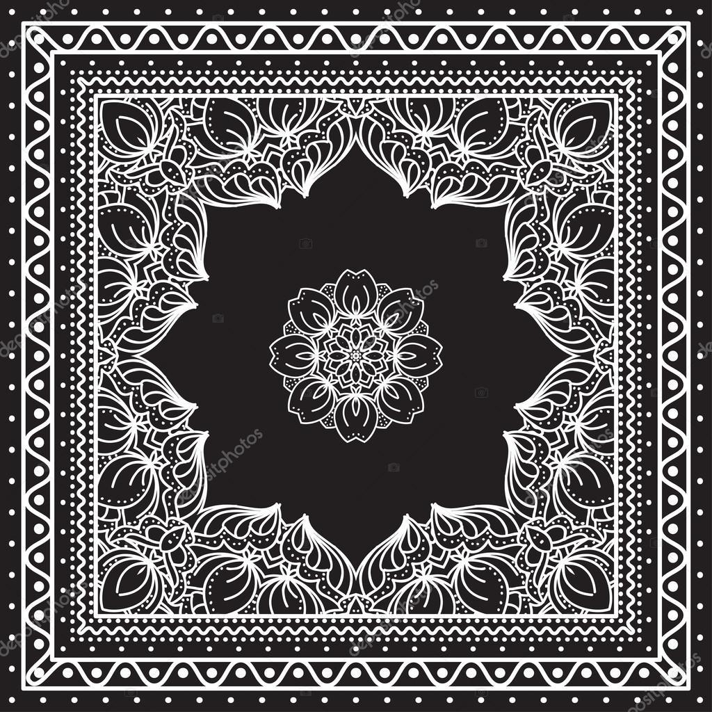 d3bca204 Blanco y negro Bandana impresión — Archivo Imágenes Vectoriales ...