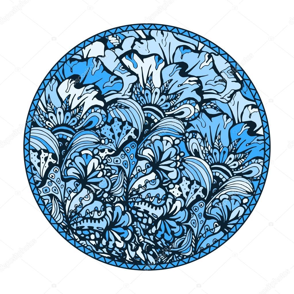 Blaue Runde Malvorlagen — Stockvektor © ilonitta #114857010