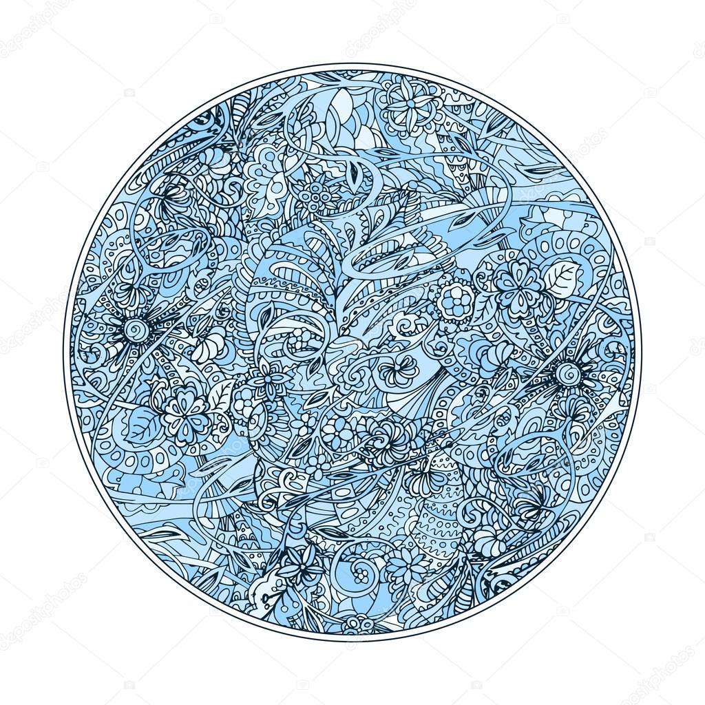 Blaue Runde Malvorlagen — Stockvektor © ilonitta #114857054
