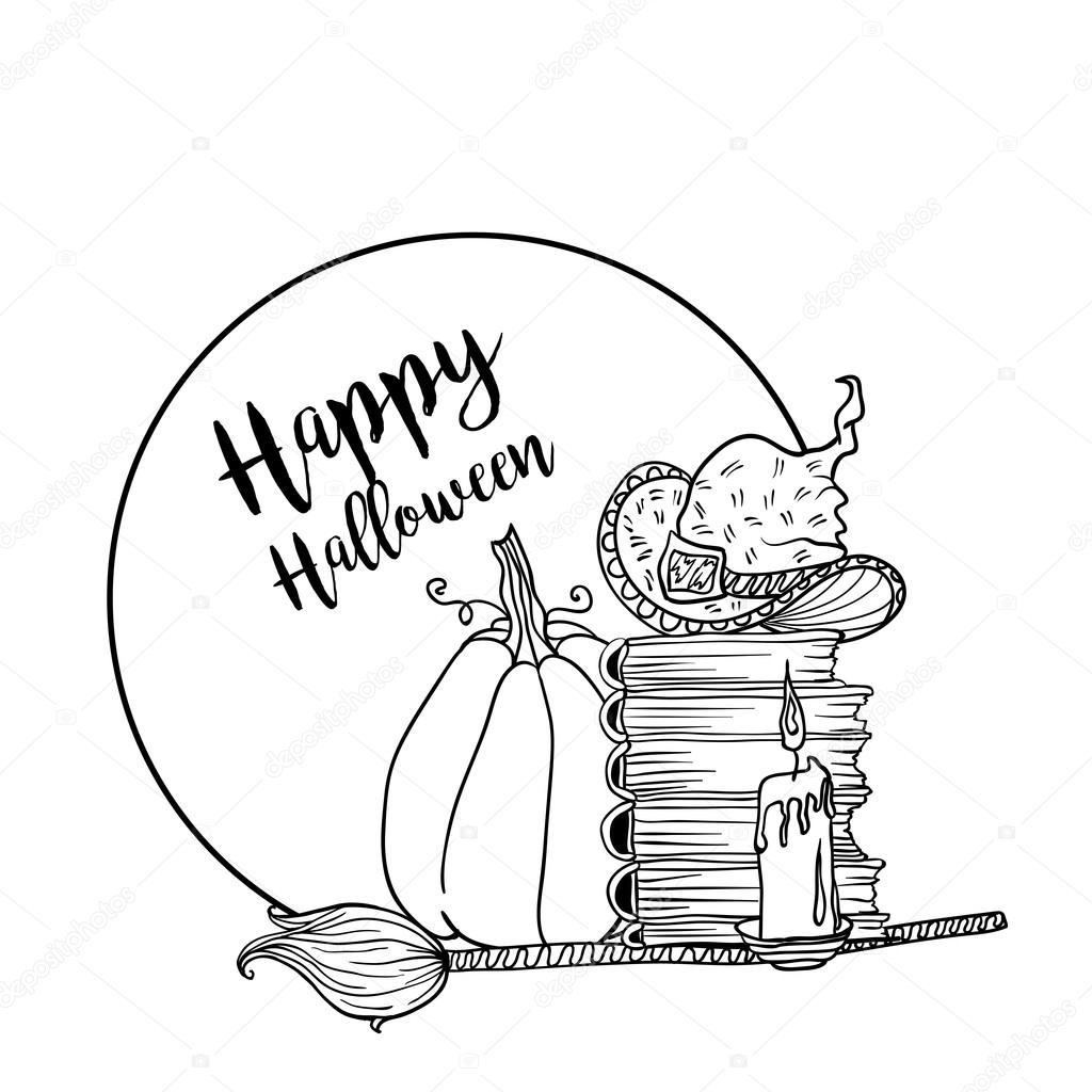 Pagina di libro da colorare per halloween vettoriali - Pagina da colorare per halloween ...