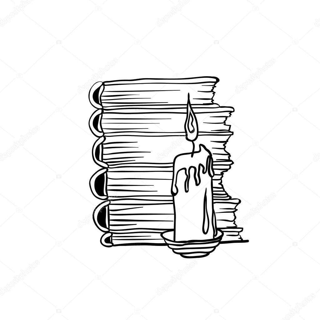 Pile De Livres Et De Bougie De Doodle Image Vectorielle Ilonitta