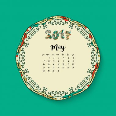 Calendar month of May 2017
