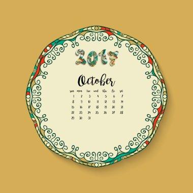 Calendar month of October 2017