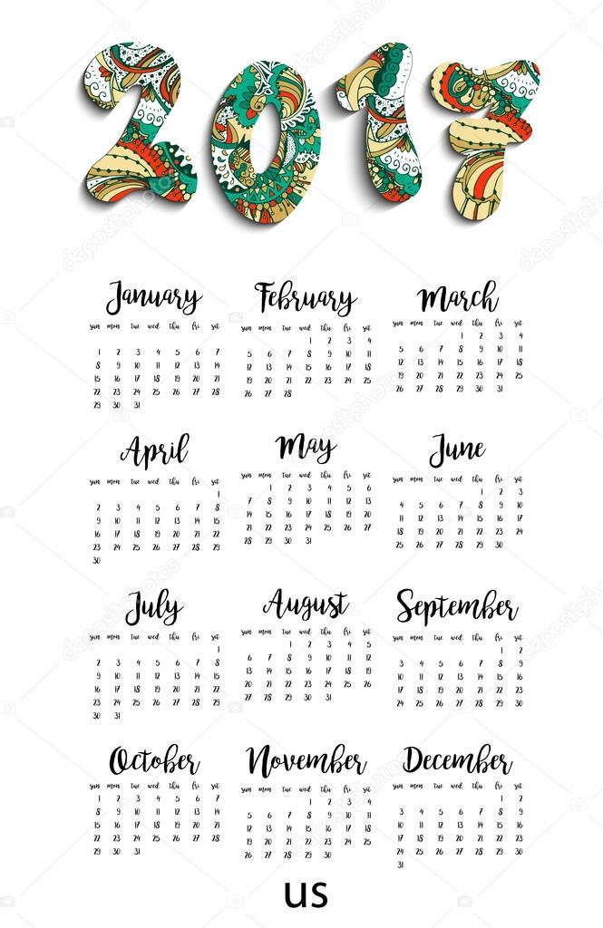 Calendario Da Parete Grande.Calendario Mensile Da Parete Grande Vettoriali Stock