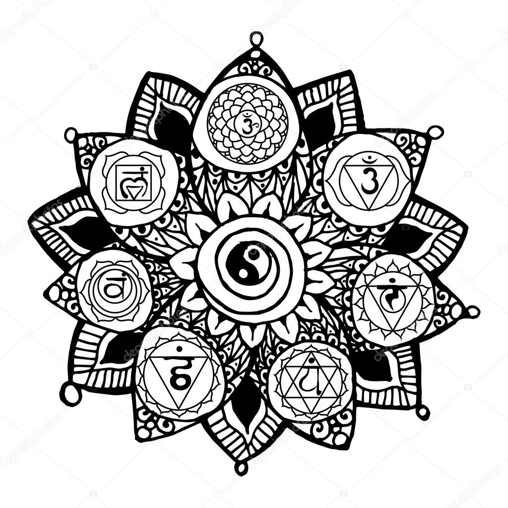 lotus with yoga chakras pictograms and hieroglyphs u2014 stock vector