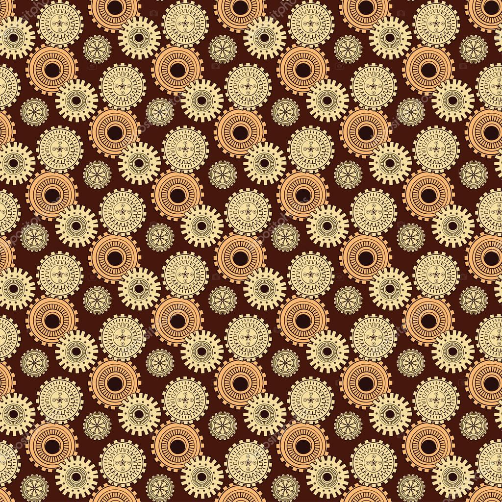 Golden iron gearwheels technology backdrop