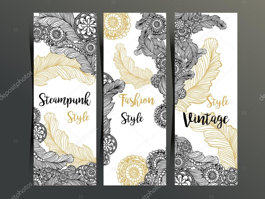 Vertical flyers with Steam punk decor