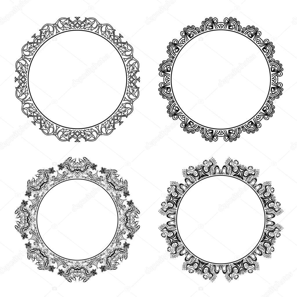 Set of round decorative frames