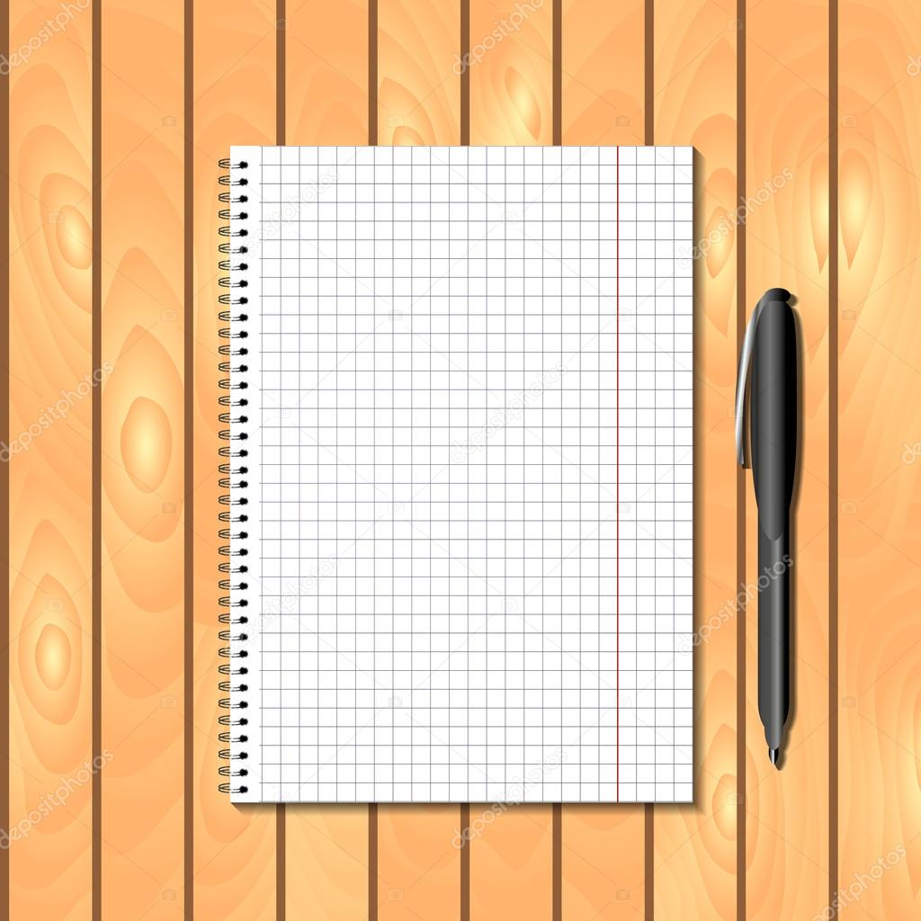 Spiral bound notebook with pen