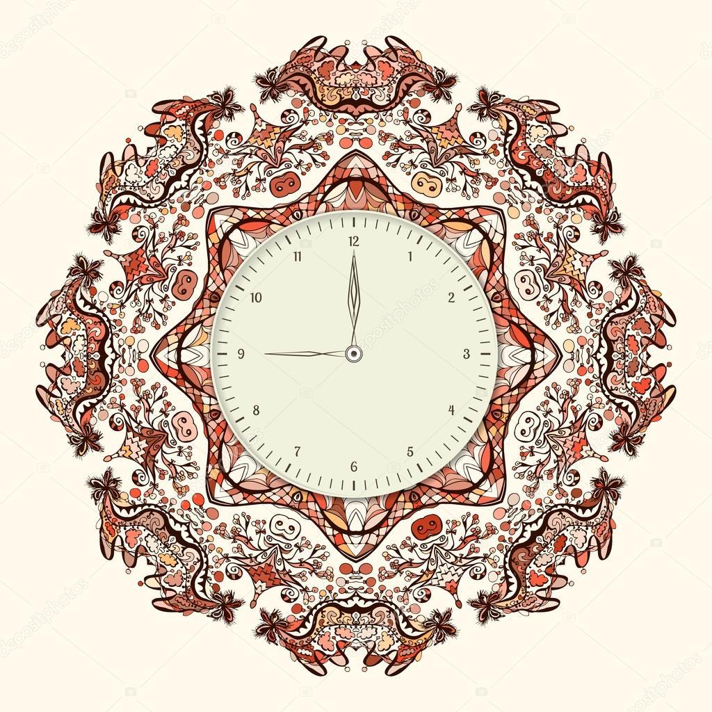 Vintage wall clock template — Stock Vector © ilonitta #72235297