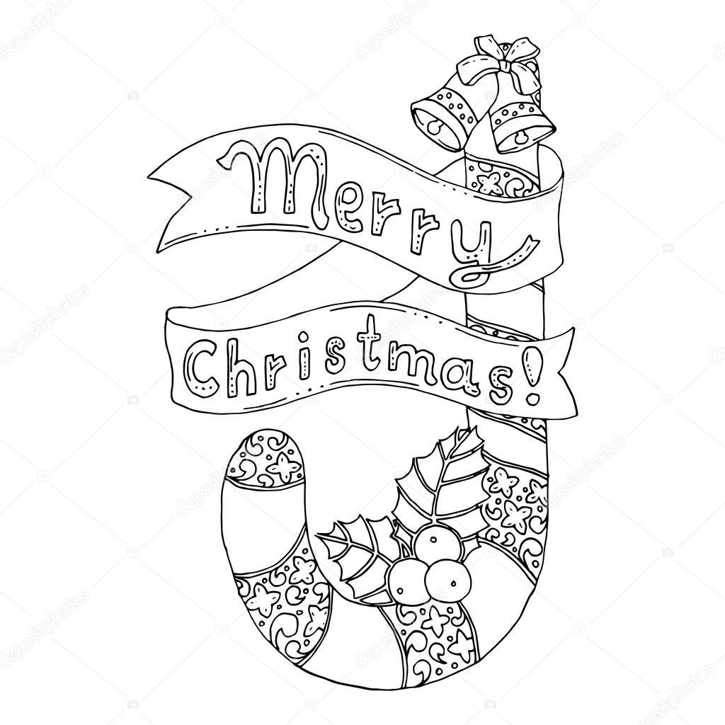 tarjeta de Navidad con bastón de caramelo — Archivo Imágenes ...