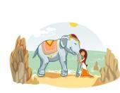 elefánt lány illusztráció