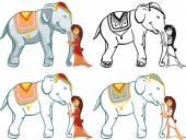 elefánt a lány illusztrációk