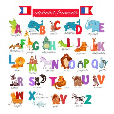 french illustrated alphabet with animals