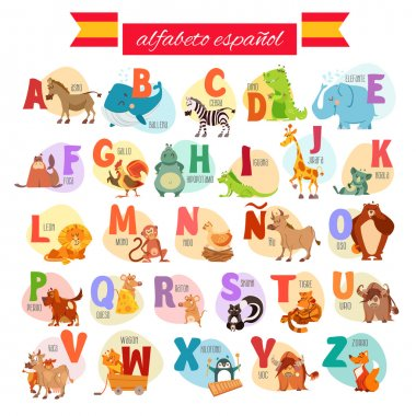cartoon spanish illustrated alphabet