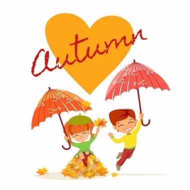 cartoon girl and boy with umbrellas