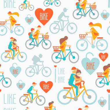 pattern with people riding on bicycles