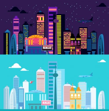 Big cityscape at day and night.
