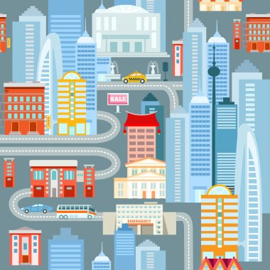 seamless pattern with buildings