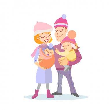Happy family portrait in winter.